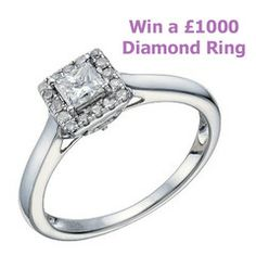 A glittering carat princess cut diamond solitaire ring, crafted with a sparkling halo of diamonds to create a look that simply loves the light. Styled in chic white gold for a fresh, youthful feel. Diamond Solitaire Rings, Halo Rings, Candle Rings, Thing 1, The Draw, Princess Cut Diamonds, 2 Carat, Beautiful Rings, Giveaway