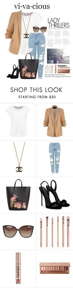 """Blazer n Tee"" by essentiallyessence on Polyvore featuring River Island, Topshop, MANGO, Giuseppe Zanotti, Linda Farrow, Urban Decay, MAC Cosmetics and StreetStyle"