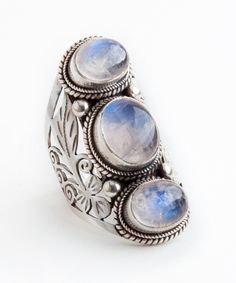 Tibetan Tri-Stone ☽ Moonstone. Authentic Tibeten Silver Ring. Hand-made by using .925 sterling silver setting and genuine stones. (http://artefactscollection.com/tibetan-tri-stone-moonstone/)