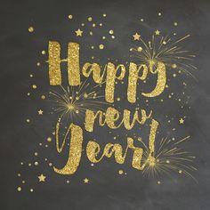 Unieke bruisende nieuwjaarskaart met krijtbord design op ondergrond.  Verkrijgbaar bij #kaartje2go voor €1,89