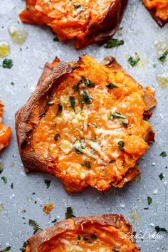 Garlic Butter Smashed Sweet Potatoes With Parmesan. A spin on regular smashed potatoes, but with sweet potatoes! All clean eating ingredients are used for these healthy potatoes. Pin now to make during meal prep later! Potato Dishes, Vegetable Dishes, Vegetable Recipes, Food Dishes, Vegetarian Recipes, Cooking Recipes, Healthy Recipes, Side Dishes, Vegan Sweet Potato Recipes