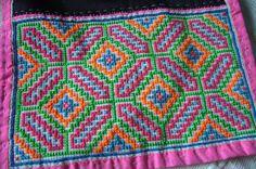 Thai Hmong vintage textiles - similar pair  - cross stitch embroidery and applique ethnic textile pieces - hilltribe handmade textiles. $12.99, via Etsy.