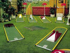 Outside Games For Kids, Outdoor Games For Kids, Outdoor Fun, Outdoor Ideas, Golf Putting Green, Putt Putt Golf, Crazy Golf, Miniature Golf, Diy Games