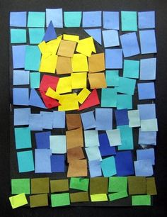 paper mosaic glued on black paper