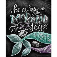 Mermaid Art Mermaid Print Mermaid Decor Be A Mermaid In A Sea Of Fish Chalk Art Chalkboard Art Mermaid Party Girls Room Decor イラスト Chalkboard Print, Chalkboard Designs, Summer Chalkboard Art, Chalkboard Decor, Mermaid Room, Mermaid Art, Mermaid Sign, Mermaid Canvas, Mermaid Beach