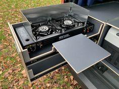 MICA Camperbox met zit, keuken en bed module! - 3DotZero Automotive BV Mini Camper, Camper Life, Rv Campers, Volkswagen Caddy, Kangoo Camper, Camping Box, Chevy Van, Kitchen Units, Stainless Steel Sinks