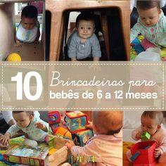 São 10 brincadeiras para bebês de 6 a 12 meses que você faz com os materiais que tem em casa e consegue estimular e divertir os seus pequenos.