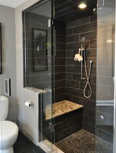 contemporary bathroom by Isabel Beattie @ K Cabinets Oakville Now I can better understand the half wall at the toilet / shower area better.