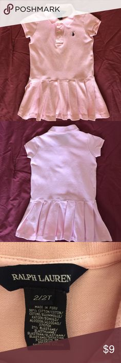 Ralph Lauren toddler girls cute pink polo dress This is such a cute little light pink dress for your 2 year old girl! It has pleated skirts with polo collar and puff sleeves and placket opening at front. Perfect to wear over any leggings or jeans or just by itself!  Worn a few times but still in good condition. Ralph Lauren Dresses Casual