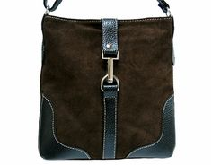 DARK BROWN GENUINE SUEDE SHOULDER HANDBAG WITH ADJUSTABLE LONG STRAP, £19.99