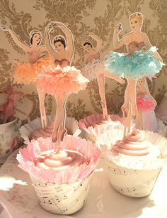 Darling Dancers. Twelve Vintage Style Ballerina Doll Toppers with Ruffled Tutus. 20.00, via Etsy.