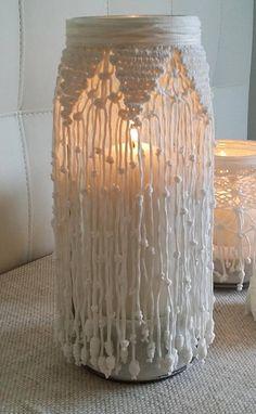 Lanterna Vaso in Macramè, centrotavola, arredo casa, centrotavola nozze, porta candela, decorazioni