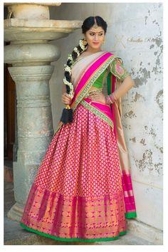 23 Elegant Saree Lehenga Designs For The South Indian Brides! Banarasi Lehenga, Half Saree Lehenga, Bridal Lehenga, Sari, Wedding Lehnga, Wedding Wear, Saree Blouse, Wedding Bride, Wedding Blog