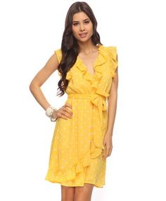 Yellow & white ruffled polka dot dress from Forever21