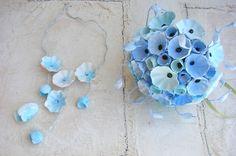 Matrimonio eco friendly, bouquet di carta turchese, acquamarina avorio. Tendenze 2015 by Alessandra Fabre Repetto. Green wedding paper flower bouquet turquoise , toasted almond