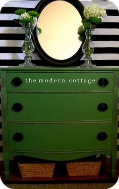 Green dresser. Striking.