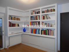 Βιβλιοθήκη με γυψοσανίδα Bookcase, Shelves, Home Decor, Shelving, Decoration Home, Room Decor, Book Shelves, Shelving Units, Home Interior Design