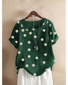 Vestidos Retro, Blouses For Women, T Shirts For Women, Style Noir, Basic Tops, Types Of Sleeves, Short Sleeves, Neck T Shirt, Shirt Blouses