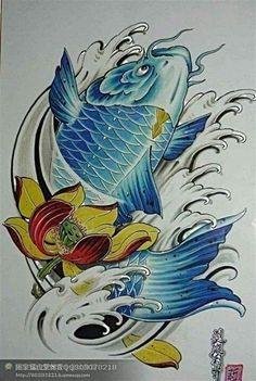 Koi Fish Drawing, Koi Fish Tattoo, Fish Drawings, Colorful Drawings, Koi Tattoo Design, Tribal Tattoo Designs, Japanese Tattoo Art, Japanese Art, Mago Tattoo