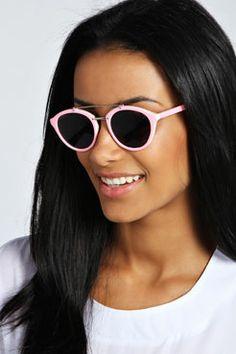 Lucy Pastel Metal Bridge Round Sunglasses at boohoo.com