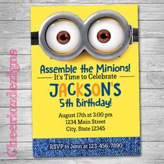 Minions Birthday Invitation Picture Invite -Despicable Me - Minions Party - Custom - Digital File- Printable by CheeriozDezigns on Etsy https://www.etsy.com/listing/239680346/minions-birthday-invitation-picture