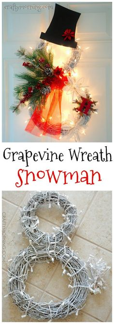 Lighted snowman wreath using grapevine wreaths! Cute Christmas/winter craft to hang up.