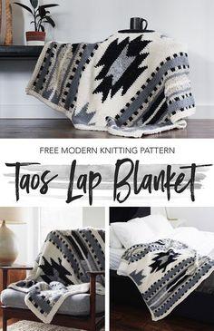 Free Knitting Pattern for Taos Lap Blanket