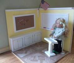 Handmade 18 Inch Doll Schoolroom School Desk Bulletin Board Doll Furniture