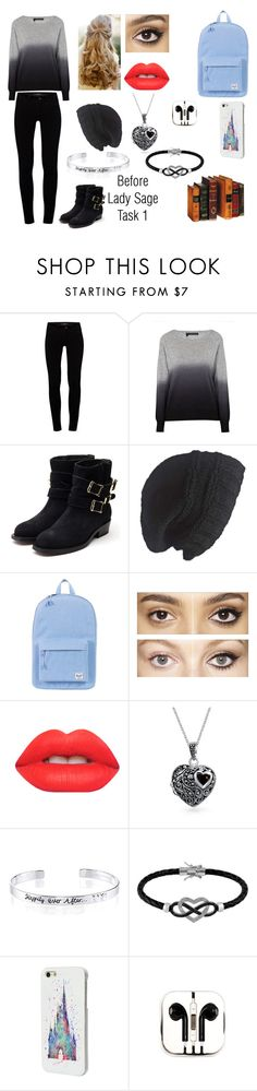 """""""Before Outifit-Lady Sage-Task 1-Selection"""" by roleplay-master ❤ liked on Polyvore featuring J Brand, 360 Sweater, Rupert Sanderson, Laundromat, Herschel Supply Co., Charlotte Tilbury, Lime Crime, Bling Jewelry, Disney and Jewel Exclusive"""