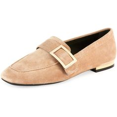 Roger Vivier Suede Metal-Buckle Loafer (2,940 PEN) ❤ liked on Polyvore featuring shoes, loafers, beige, buckle flats, suede shoes, buckle loafers, slip on shoes and suede loafers