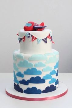 Airplanes and clouds 2 tier cake. Airplane Birthday Cakes, 3rd Birthday Cakes, Airplane Party, Airplane Cakes, Birthday Ideas, Pretty Cakes, Cute Cakes, Fondant Cakes, Cupcake Cakes