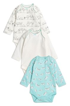 Buy Mint Long Sleeved Cat Character Bodysuits Three Pack (0mths-2yrs) from the Next UK online shop