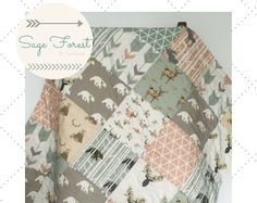 Baby Quilts Sage Baby Quilt Girl Woodland Baby Quilt Baby Bedding by CoolSpool Quilt Baby, Baby Girl Bedding, Baby Girl Quilts, Pink Bedding, Girls Quilts, Bedding Sets, Deer Bedding, Neutral Bedding, Luxury Bedding