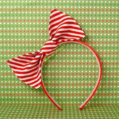 Kawaii Lolita Red And White Christmas Candy Peppermint/Sweets/Candy Canes Fabric Bow Headband