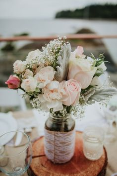 Jacqueline and Andrew's 13 Guest, $6,500 Rustic Waterfront Inn, BC Wedding. Jacqueline & Andrew Coco Photography. See more... @intimateweddings.com #smallwedding #centerpiece