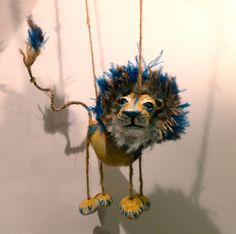 Hand made lion marionette puppet with bold by SarahMakesPuppets