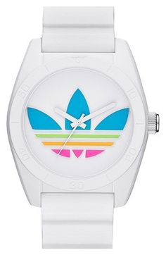 Shop for an authentic, brand new Unisex Adidas Originals Santiago White Watch at NYWatchStore. Retro Watches, Cool Watches, White Watches, Analog Watches, Adidas Originals Watch, The Originals, Adidas Shoes Women, Nike Shoes, Women's Shoes