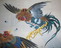 Gallery For > Fighting Rooster Painting