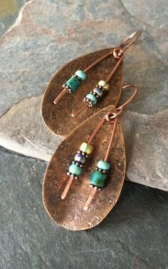 OOAK Tribal Copper Earrings Hammered Copper and by esdesigns65