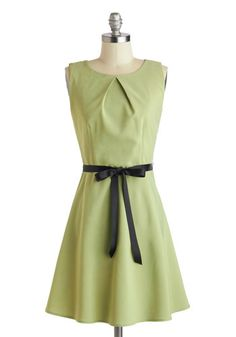 Shamrock and Roll Dress - Mid-length, Green, Black, Solid, Party, A-line, Sleeveless, Belted, Wedding, Bridesmaid, Spring, Summer