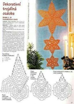 Best 12 Star Christmas: crochet ornaments – with diagram by Jeroen En Franciska Jonkman – SkillOfKing. Crochet Diagram, Crochet Motif, Diy Crochet, Crochet Designs, Crochet Crafts, Crochet Doilies, Crochet Flowers, Crochet Christmas Ornaments, Christmas Crochet Patterns