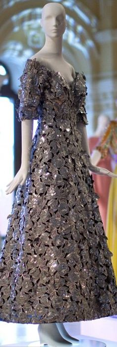 """Arnold Scaasi """"Platinum"""" Gown, 1992: with silver sequined cut-away leaf motif. 