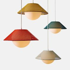 Breathing light, buoyancy and now bursting with color ✨ our Akoya Pendants are available in Emerald, Ochre Yellow, Silk Grey and Vermillion! Den Furniture, Furniture Ideas, Furniture Buyers, Compact Fluorescent Bulbs, Kitchen Remodel Cost, Interior Decorating, Interior Design, Decorating Blogs, Living Room Flooring