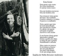 Sophia de Mello Breyner Andresen   Poema \\ Essa Gente Author, Ds, Image, Poem, Frases, Stuff Stuff, Writers