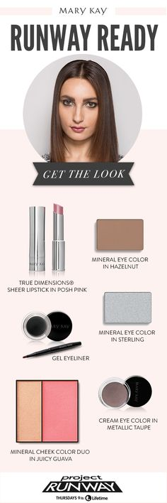 Metallic silver eye makeup straight from the runway. Get the look with Mary Kay® Gel Eyeliner, Mineral Eye Colors in Sterling and Hazelnut, and Cream Eye Color in Metallic Taupe!