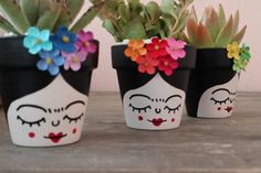 3 Small Frida Decorated Cactus and Succulents Pots image 4 Small Cactus, Succulent Pots, Cactus Flower, Cacti And Succulents, Types Of Flowers, Diy Flowers, Paper Flowers, Flowers Garden, Exotic Flowers