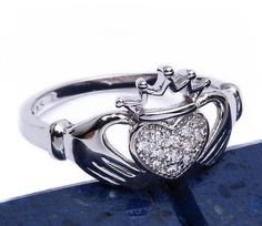 Pave CZ Irish Heart Claddagh .925 Sterling Silver Ring