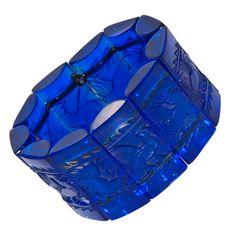 René Lalique. 1930s Roosters Panel Cobalt Glass Bracelet