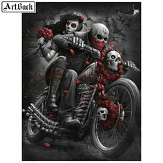 You too can be an artist when you paint with Diamonds! Every kit gives you a chance to create a work of art you can be proud of. This diamond painting kit Fantasy Kunst, Gothic Fantasy Art, Motorcycle Art, Bike Art, Totenkopf Tattoos, Lowrider Art, Skull Pictures, Gothic Pictures, Sugar Skull Art