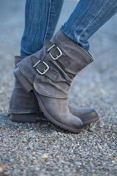 follow me @cushite To the Moon & Back Fold Over Buckle & Zipper Detailed Boot (Grey) - NanaMacs.com - 1